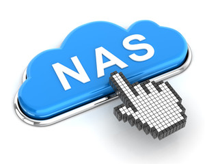 Clicking a cloud shaped NAS button, 3d render