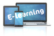 Smartphone, tablet and laptop with E-learning text, 3d render - 75721266