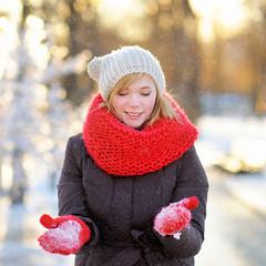Young beautiful woman in winter