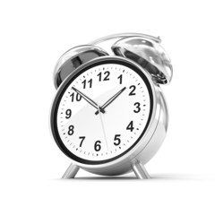 Old fashioned alarm clock isolated on white