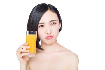 young woman with orange juice, white background