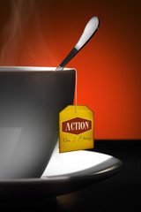 Tea for Action. Yellow label.