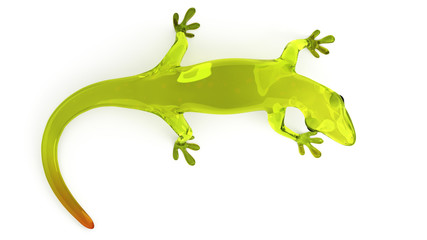 Cute green glass gecko isolated on a white background.