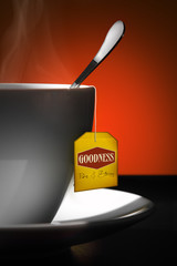 Tea for Goodness. Yellow label.
