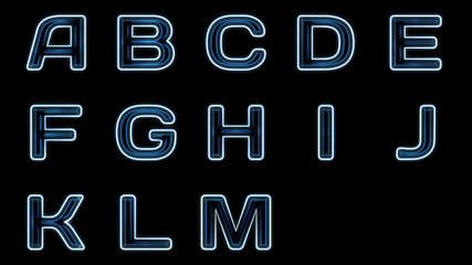 Blue neon text set isolated on a black background.