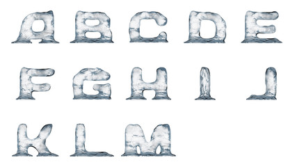 Melting ice text elements isolated on a white background.