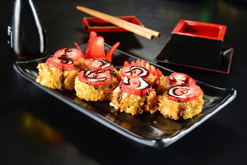 Sweet sushi with strawberries