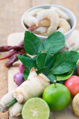 ingrédients pour la Tom yum goong, soupe Thailandaise