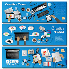 Creative Team Flyer Template - Vector Illustration