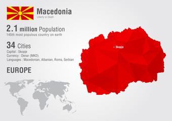Macedonia world map with a pixel diamond texture.