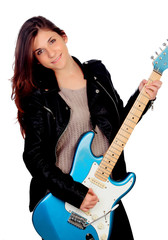 Young girl with electric guitar