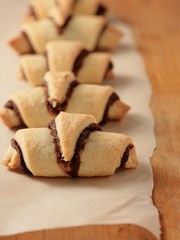 Rugelach with chocolate filling. Jewish holiday cookie