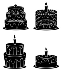 Black Silhouette Collection Of Birthday Cake