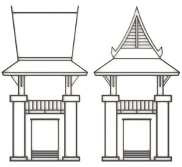 3D evelation drawing of south-east Asian pavilion or temple in f