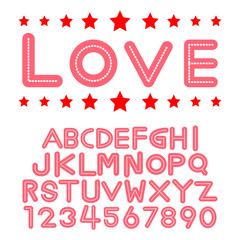 Alphabet fonts and numbers for valentine