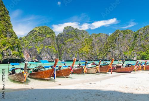 boats at Maya bay Phi Phi Leh island, Thailand © worldwide_stock