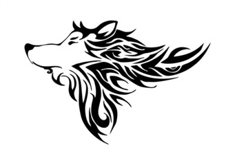 wolf head tribal design tatoo vector