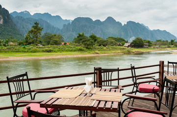 view of Nam Song River with Dining Table at Vang Vieng, Laos
