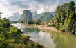 Leinwanddruck Bild - Landscape of Nam Song River at Vang Vieng, Laos