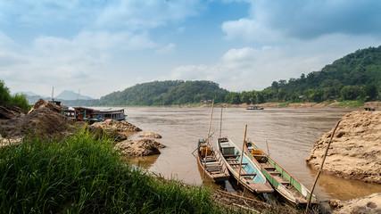Nam Song River in Laos.Vang Vieng Landscape.Boats park at rivers