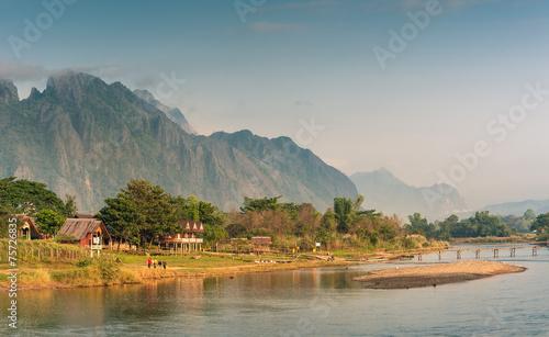 Papiers peints Riviere Landscape of Nam Song River in morning ,Vang Vieng, Laos