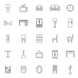 Furniture line icons on white background