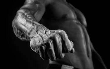 Handsome muscular bodybuilder demonstrates his fist and vein
