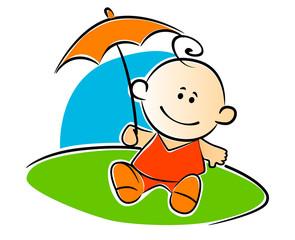Little baby holding umbrella
