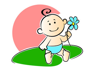 Happy adorable infant playing with a flower