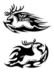 Leaping speeding deer Off Road vector icon