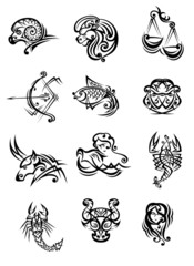 Tribal black and white zodiac signs