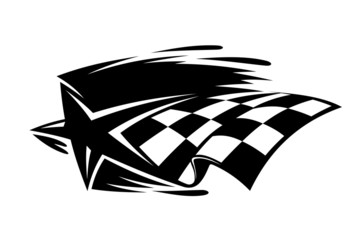 Motor sport icon with a star and checkered flag