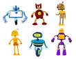 Cute colorful retro robot toys