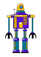 Colorful toy robot in vintage style