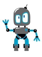 Funny cartoon robot or alien waving hand