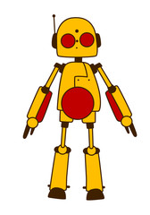 Toy robot or alien in bright yellow