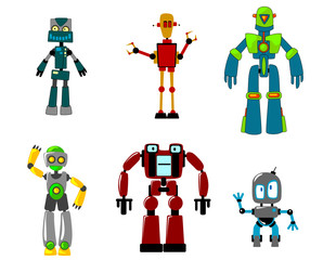 Six colorful cartoon robots, isolated on white