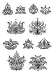 Paisley floral design elements set