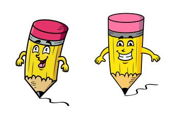 Happy cartoon pencils drawing squiggly lines