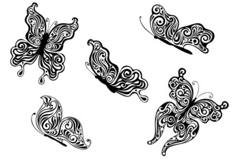 Ornate patterned calligraphic butterflies