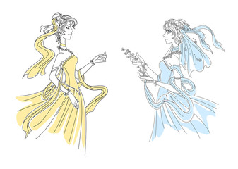 Brides in yellow and blue dresses