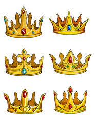 Golden royal crowns decorated with gemstones