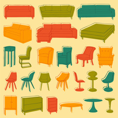 vector home furniture icons, room interior