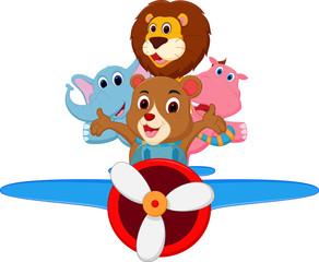 Funny cartoon animals riding a plane