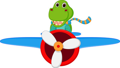 Dinosaur cartoon riding a plane