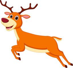 Happy deer cartoon running
