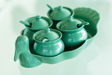 Thai Condiment for noodle or pad thai in ceramic set on glass  t