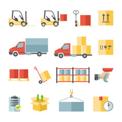 Warehouse transportation and delivery flat icons set