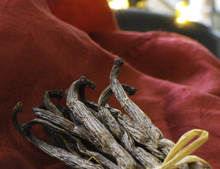 Closeup of vanilla pods with vanilla seeds. Holiday background.