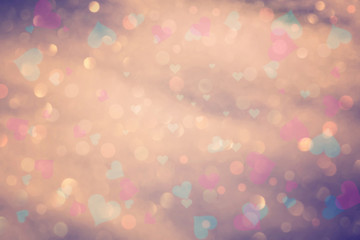 Vintage colorful bokeh with hearts